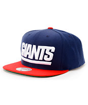NFL Mitchell and Ness Giants XL Logo 2Tone Blue Snapback Hat
