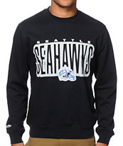 NFL Mitchell and Ness Seahawks Retro Blur Crew Neck Sweatshirt