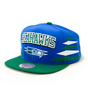 NFL Mitchell and Ness Seahawks Script 2 Tone Diamond Snapback Hat