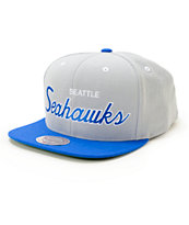 NFL Mitchell and Ness Seahawks Script 2 Tone Snapback Hat