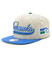NFL Mitchell and Ness Seahawks Tailsweeper Melton Strapback Hat