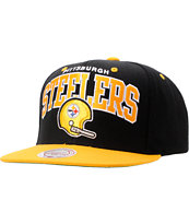 NFL Mitchell and Ness Steelers Arch Helmet Snapback Hat