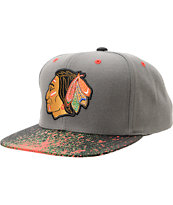 NHL Mitchell And Ness Chicago Blackhawks Grey Splatter Snapback