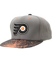 NHL Mitchell And Ness Philly Flyers Grey Splatter Snapback Hat