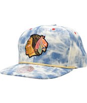 NHL Mitchell and Ness Blackhawks Acid Wash Blue Snapback Hat