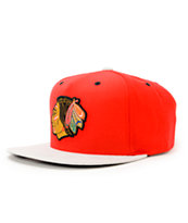 NHL Mitchell and Ness Blackhawks Grey Cord Visor Strapback Hat