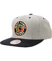 NHL Mitchell and Ness Blackhawks Grey Denim 2Tone Snapback Hat