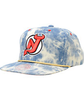 NHL Mitchell and Ness Devils Acid Wash Blue Snapback Hat