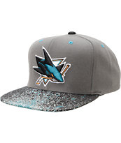 NHL Mitchell and Ness Sharks Grey Splatter Snapback Hat