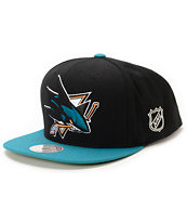 NHL Mitchell and Ness Sharks XL Logo 2Tone Black Snapback Hat