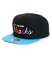 NHL Mitchell and Ness Tie Dye Script Sharks Snapback Hat