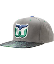 NHL Mitchell and Ness Whalers Grey Splatter Snapback Hat