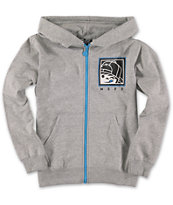 Neff Boys Numeral Grey Zip Up Hoodie