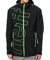 Neff Daily Black & Slime Green 10K 2014 Softshell Snowboard Jacket