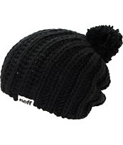 Neff Girls Curse Black Pom Beanie