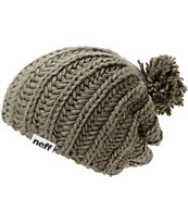 Neff Girls Curse Grey Pom Beanie