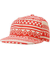 Neff Girls Inca Red & White Tribal Print Snapback Hat