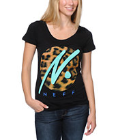 Neff Girls Run Wild Black Scoop Neck Tee Shirt