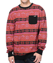 Neff Henrik Burgundy Pocket Crew Neck Sweatshirt