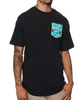 Neff Nifty Black Blue Fish Pocket Tee Shirt