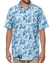 Neff Retro Hula Blue Button Up Shirt