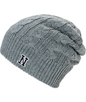 Neff Sarah Embroidered N Grey Beanie