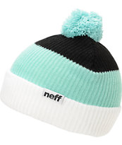 Neff Snappy White, Mint & Black Pom Beanie