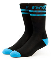 Neff Two Stripes Black & Cyan Crew Socks