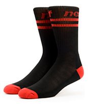Neff Two Stripes Black & Red Crew Socks