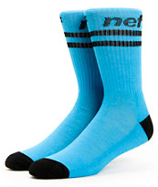 Neff Two Stripes Cyan & Black Crew Socks