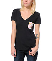 Neff Women's Floral Pocket Black V-Neck Tee Shirt