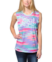 Neff Women's Legit Multicolor Native Print Muscle Tee Shirt