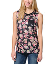 Neff Women's Vacationer Black Floral Print Muscle Tee Shirt