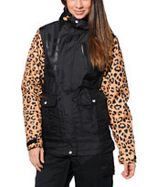 Neff Wonder Cheetah Print Black 10K Girls Snowboard Jacket 2014
