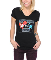 Neff x Dead Mau5 Girls Versus Black V-Neck Tee Shirt