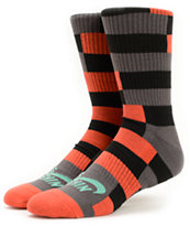 Nike SB Dri-Fit Orange, Black, & Grey Striped Crew Socks