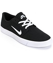 Nike SB Portmore Black & White Skate Shoes