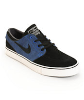 Nike SB Zoom Stefan Janoski Black, Game Royal, & Ivory Skate Shoes