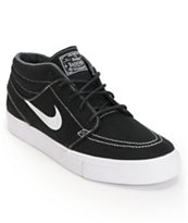Nike SB Zoom Stefan Janoski Mid Black & White Canvas Skate Shoe
