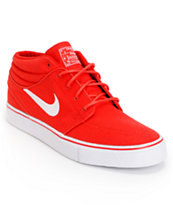 Nike SB Zoom Stefan Janoski Mid University Red & White Canvas Skate Shoe
