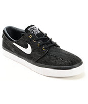 Nike SB Zoom Stefan Janoski PR Black & White Woodgrain Skate Shoes
