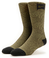 Nike Tiger Stripe Army Green Skateboarding Crew Socks
