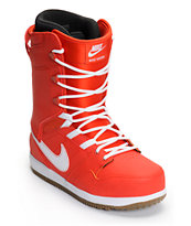 Nike Vapen Gamma Orange, Gum Medium Brown, & White 2014 Snowboard Boots