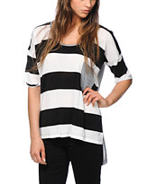 Nikita Boxy Top Black & White Stripe Oversized Tee