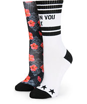 Ninth Hall 2 Pack Can U Not Floral Bandana Crew Socks