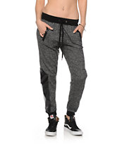 Ninth Hall Faux Leahter Panel Speckle Jogger Pants
