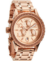 Nixon 38-20 Chrono All Rose Gold Crystal Watch