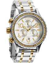 Nixon 38-20 Chrono Silver & Gold Crystal Watch