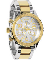 Nixon 42-20 Silver & Champagne Gold Chronograph Watch