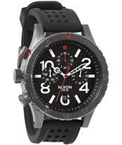 Nixon 48-20 Gunmetal, Black, & Red Chronograph P Watch